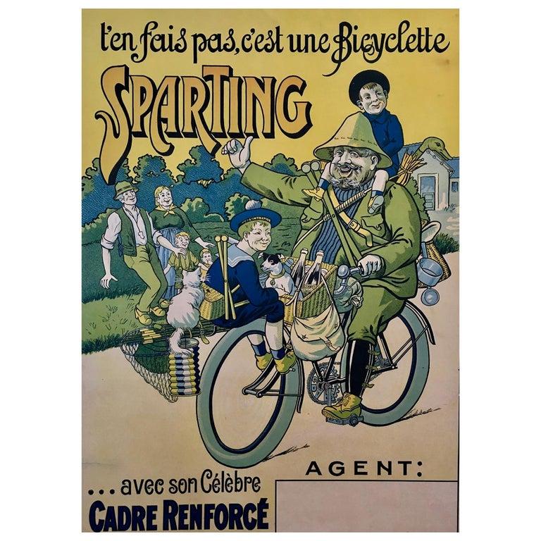 'T'en Fais Pas, C'est Une Bicyclette Sparting', Original Lithograph Poster For Sale