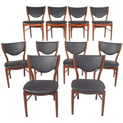 Ten Finn Juhl Side Chairs Designed for Bovirke Model # Bo 63