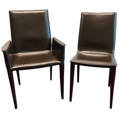 Ten Frag Italian Leather Dining Chairs Marchio Collection by Design Within Reach