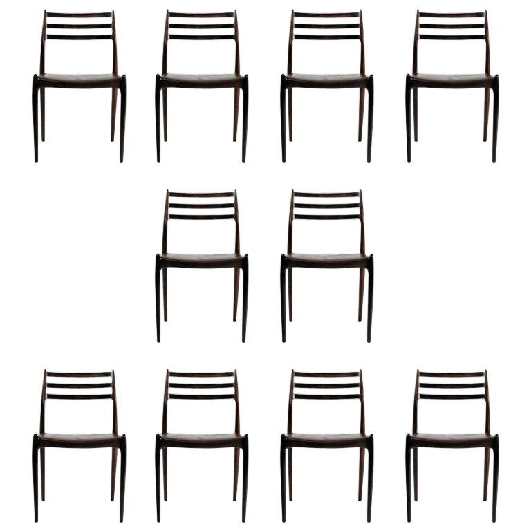 Ten Fully Restored Niels Otto Møller Rosewood Dining Chairs, Inc. Reupholstery