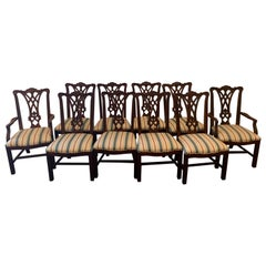 Ten Georgian Style Mahogany Dining Room Chairs, by Thomasville