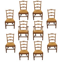 Ten Golden Oak Chippendale Mission Dining Chairs Rush Seat Ribbon Ladder Back