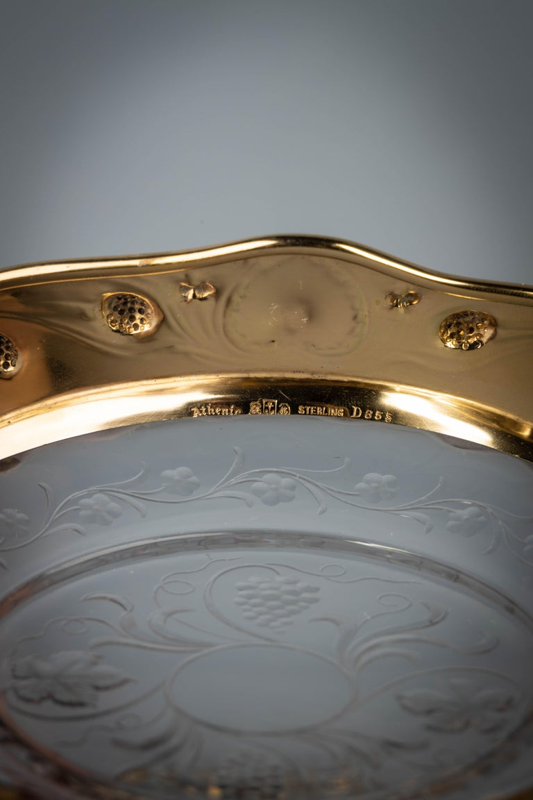 Ten Gorham Sterling Silver and Crystal Plates, circa 1910 In Good Condition For Sale In New York, NY