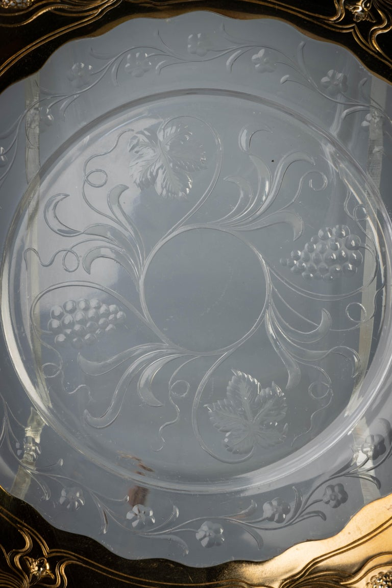 Early 20th Century Ten Gorham Sterling Silver and Crystal Plates, circa 1910 For Sale