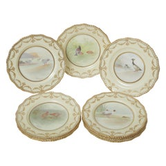 Ten Hand Painted Game Bird Plates, Raised Gold Accents, Antique English