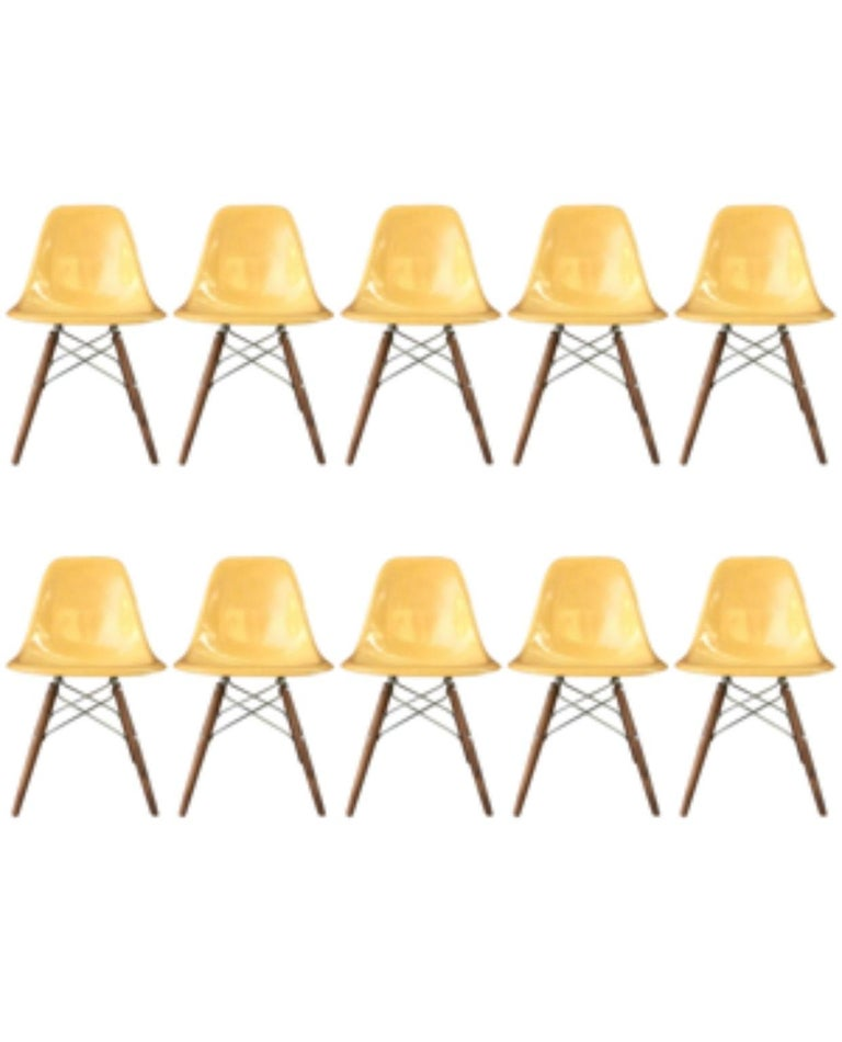 American Ten Herman Miller Eames Ochre Dining Chairs For Sale