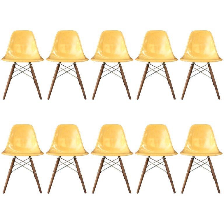 Ten Herman Miller Eames Ochre Dining Chairs For Sale