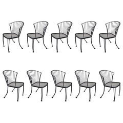 "Ten Indoor/Outdoor ""Pinecrest"" Dining Height Chairs by Woodard, USA, 1950s"