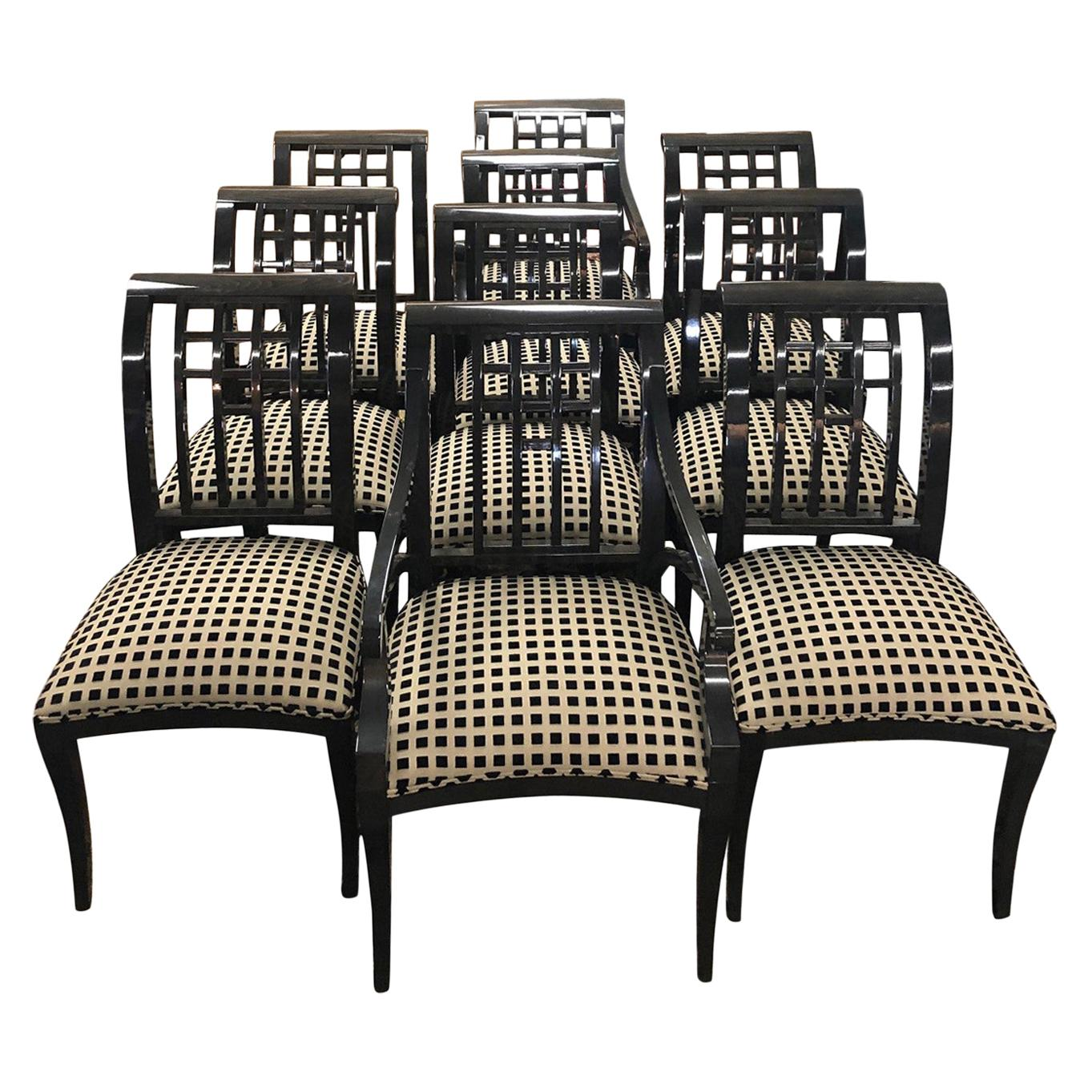 Ten Italian Dining Chairs in Lacquered Wood and Fabric by Pietro Costantini