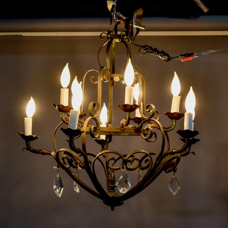 Ten-Light French Iron Chandelier with Crystals For Sale 6