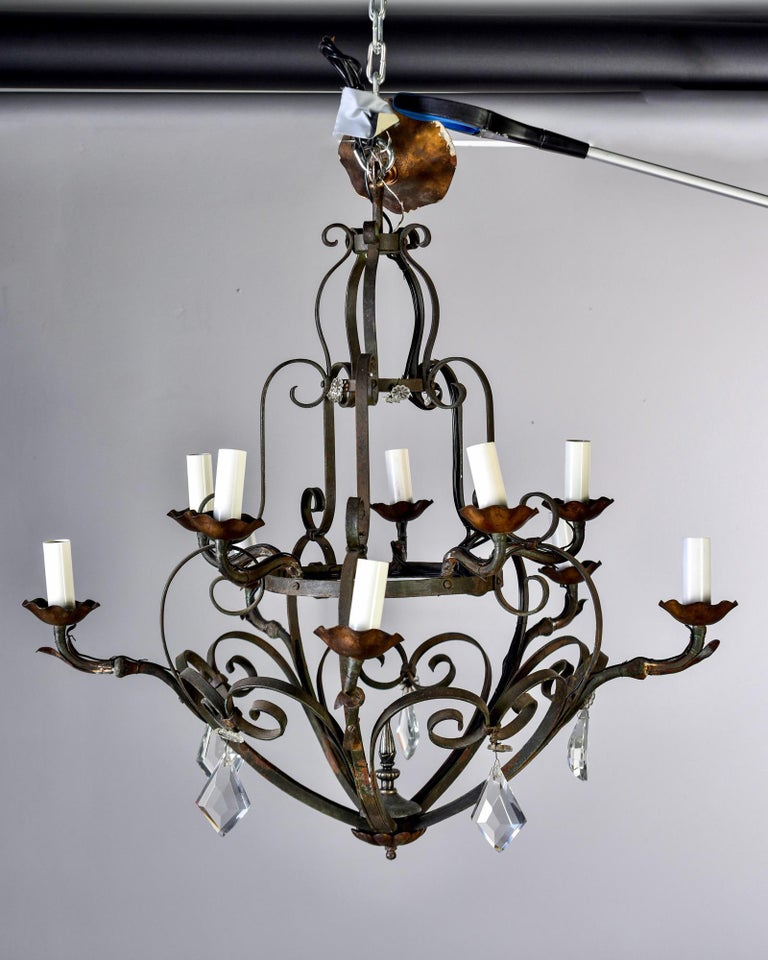 Ten-Light French Iron Chandelier with Crystals In Good Condition For Sale In Troy, MI