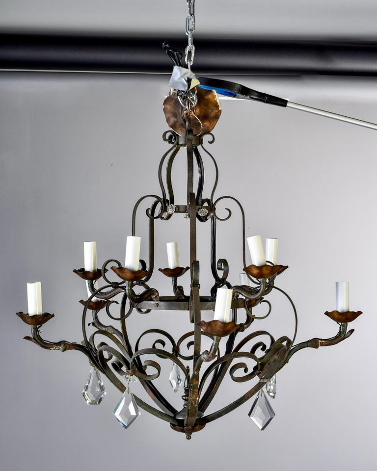 20th Century Ten-Light French Iron Chandelier with Crystals For Sale