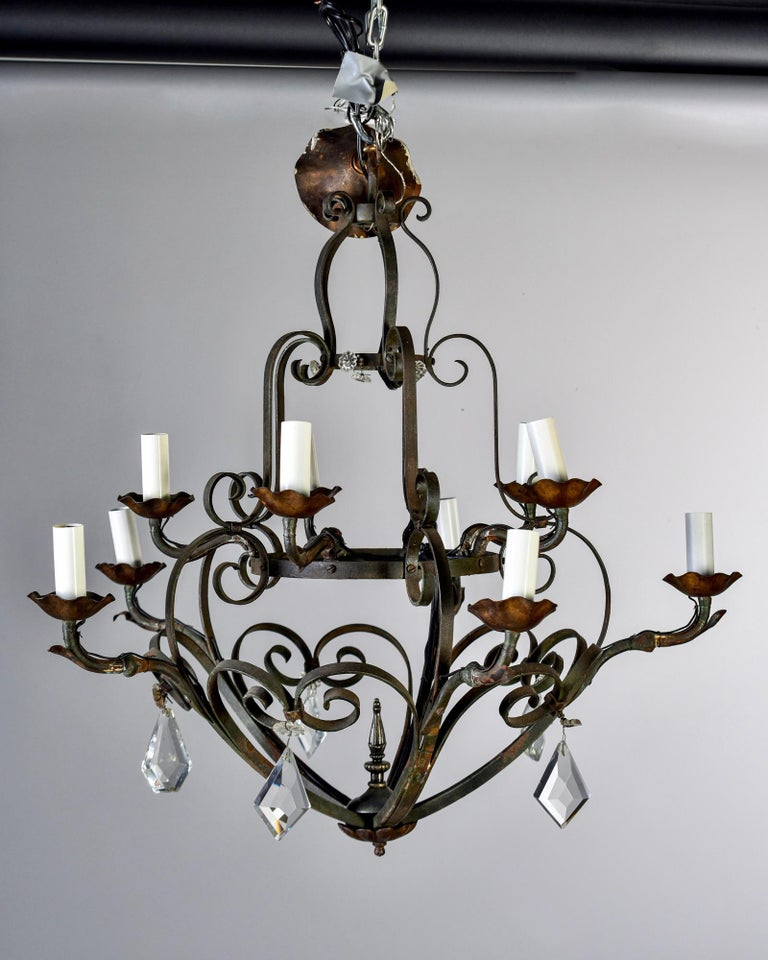 Metal Ten-Light French Iron Chandelier with Crystals For Sale
