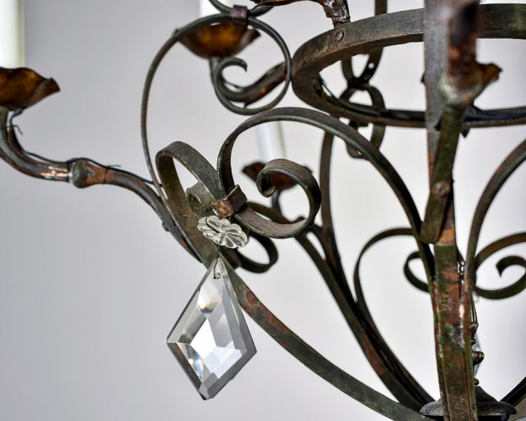 Ten-Light French Iron Chandelier with Crystals For Sale 2