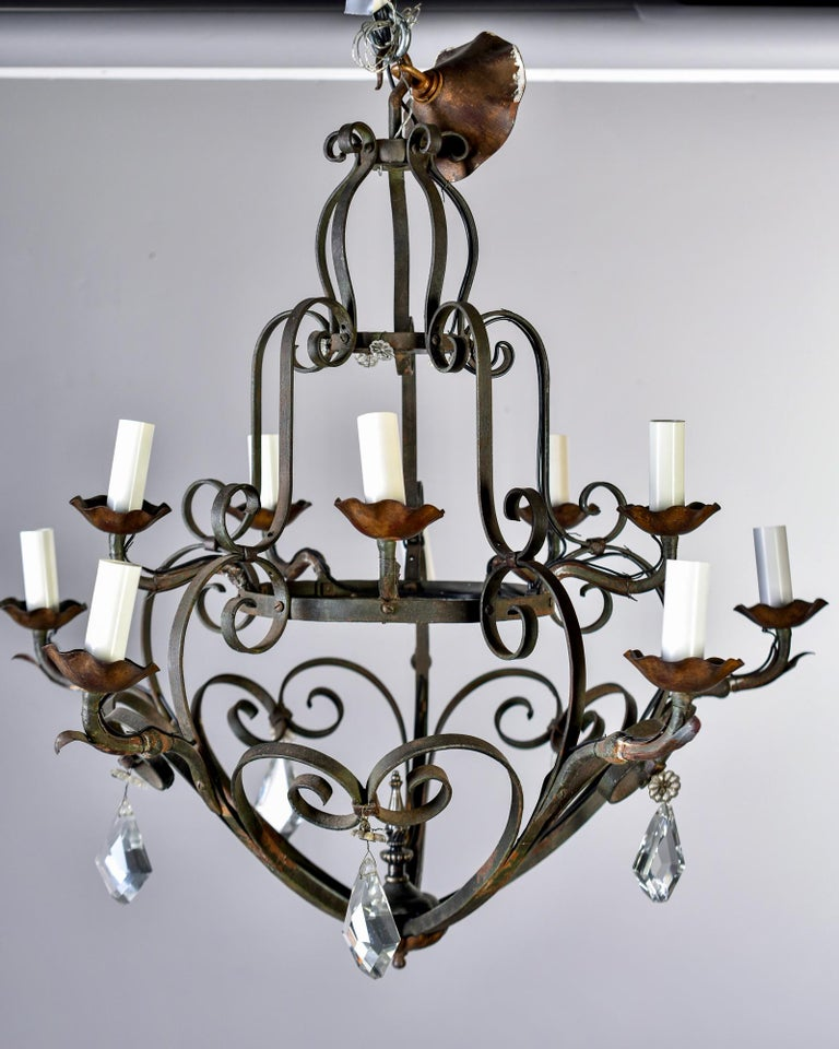 Ten-Light French Iron Chandelier with Crystals For Sale 3