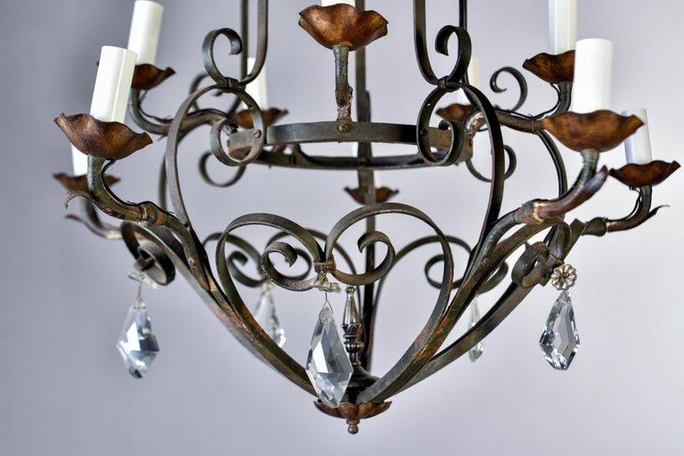 Ten-Light French Iron Chandelier with Crystals For Sale 4