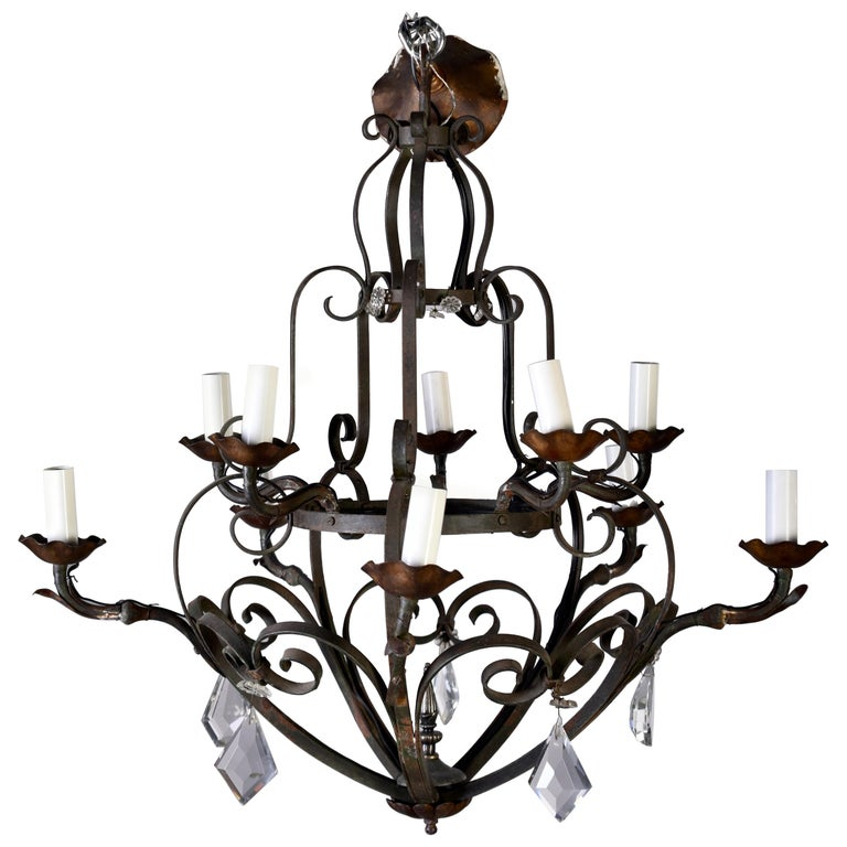 Ten-Light French Iron Chandelier with Crystals For Sale