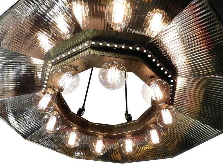 American Ten-Light Mirror Reflector Chandelier For Sale
