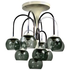 Ten Lights Chandelier in Chrome and Smoked Glass, Italy, Mid-Century Modern