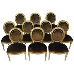 Ten Louis XVI Style Giltwood and Velvet Oval Back Side Chairs