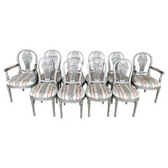 "Ten Louis XVI Style Silver Leaf ""Montgolfier"" Hot Air Balloon Back Dining Chairs"