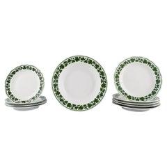 Ten Meissen Green Ivy Vine Leaf Plates in Hand-Painted Porcelain, 1940s