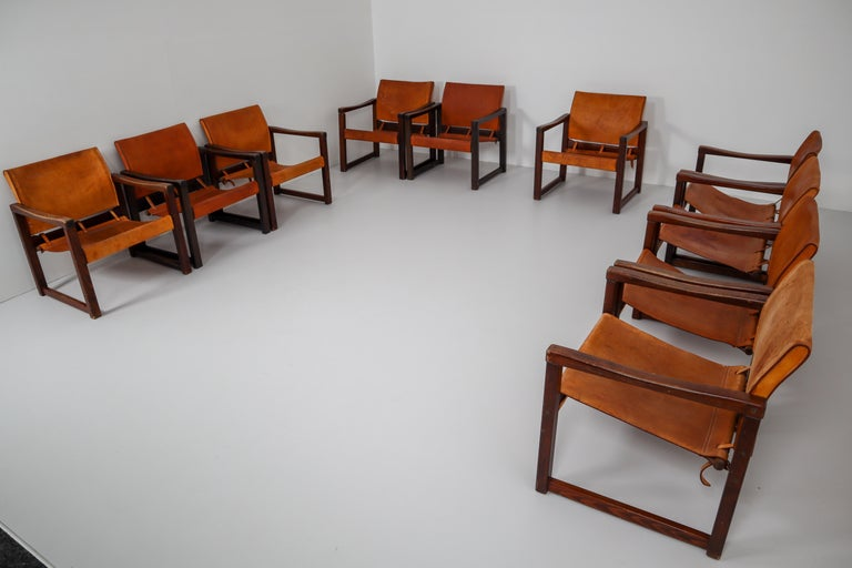 Ten Midcentury Safari Lounge Chairs in Patinated Cognac Saddle Leather, 1970s For Sale 4