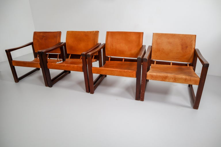 Ten Midcentury Safari Lounge Chairs in Patinated Cognac Saddle Leather, 1970s For Sale 5