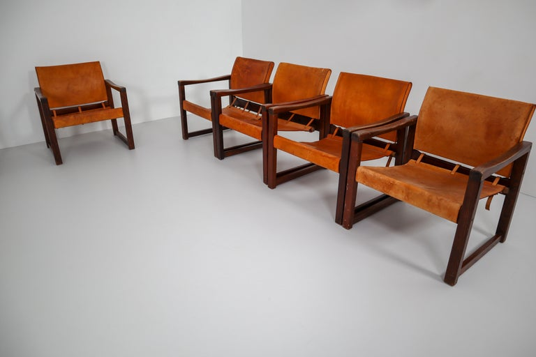 Ten Midcentury Safari Lounge Chairs in Patinated Cognac Saddle Leather, 1970s For Sale 6