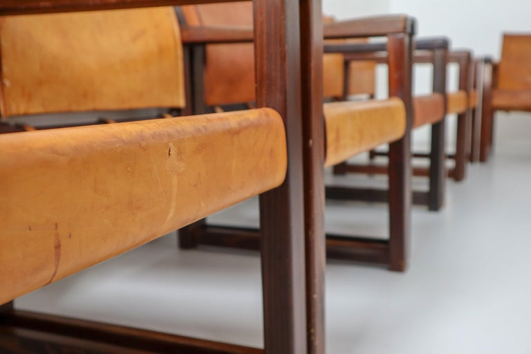 Ten Midcentury Safari Lounge Chairs in Patinated Cognac Saddle Leather, 1970s For Sale 7