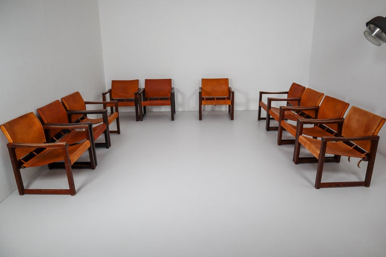 Ten Midcentury Safari Lounge Chairs in Patinated Cognac Saddle Leather, 1970s For Sale 9