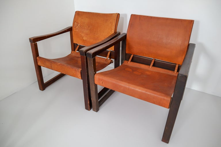 Ten Midcentury Safari Lounge Chairs in Patinated Cognac Saddle Leather, 1970s For Sale 10