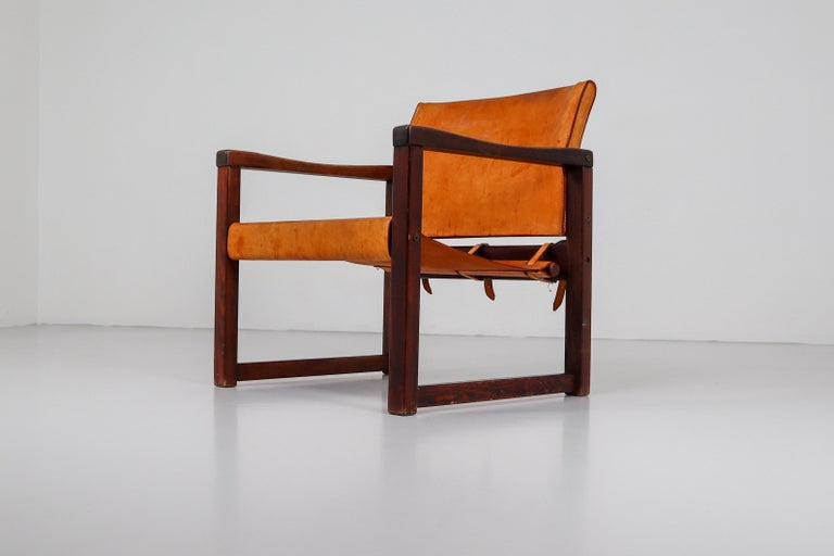Ten Midcentury Safari Lounge Chairs in Patinated Cognac Saddle Leather, 1970s For Sale 13