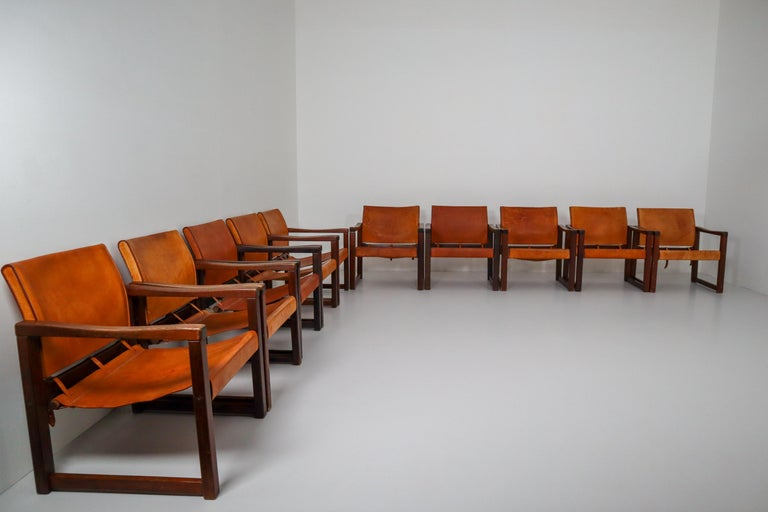 Ten Midcentury Safari Lounge Chairs in Patinated Cognac Saddle Leather, 1970s For Sale 14