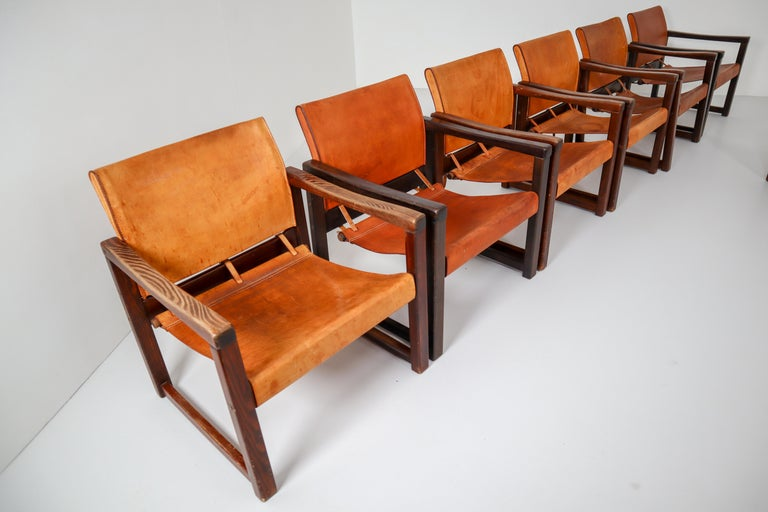 Scandinavian Modern Ten Midcentury Safari Lounge Chairs in Patinated Cognac Saddle Leather, 1970s For Sale