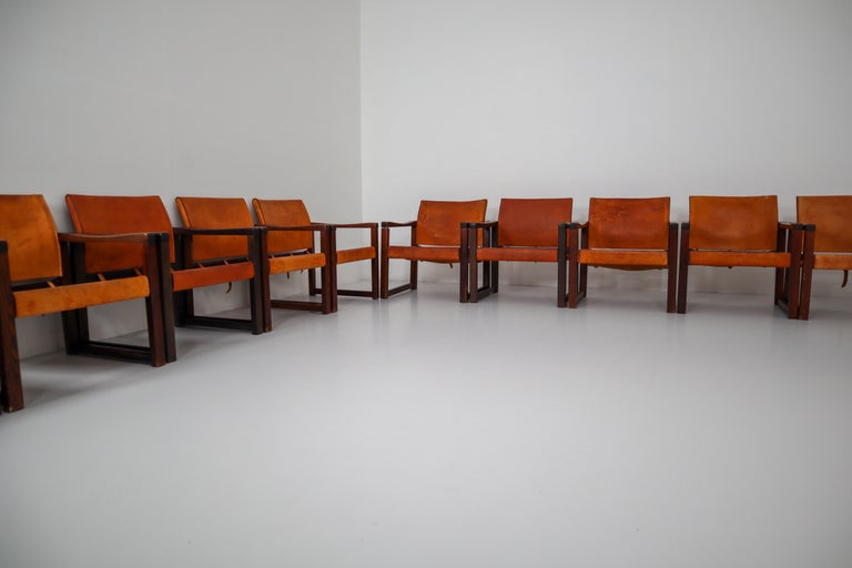 Ten Midcentury Safari Lounge Chairs in Patinated Cognac Saddle Leather, 1970s In Good Condition For Sale In Almelo, NL