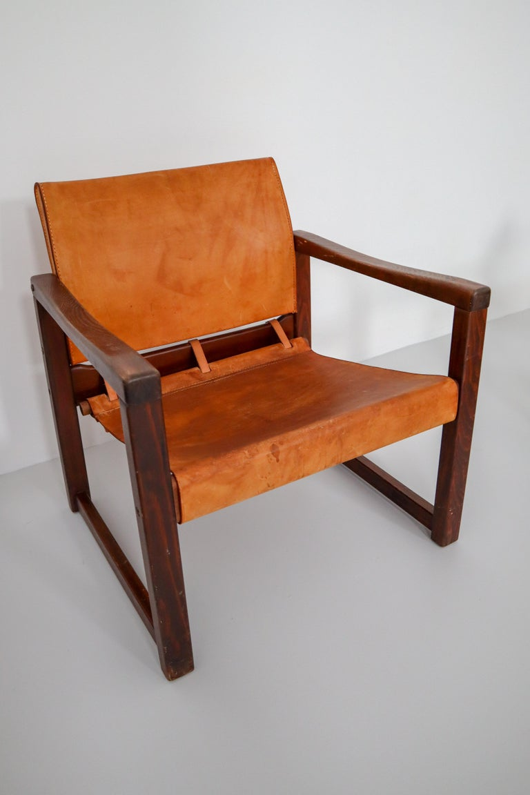 20th Century Ten Midcentury Safari Lounge Chairs in Patinated Cognac Saddle Leather, 1970s For Sale
