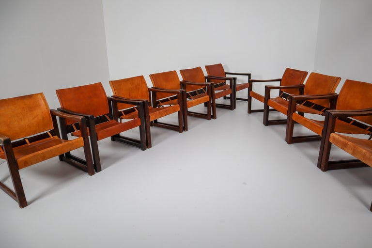 Ten Midcentury Safari Lounge Chairs in Patinated Cognac Saddle Leather, 1970s For Sale 2