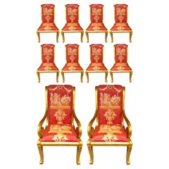Ten Neoclassical Dining Chairs in Fine Versace Style Fabric
