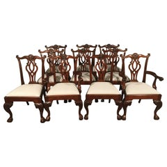 Eight New Mahogany Scroll Back Ball and Claw Dining Chairs by Leighton Hall