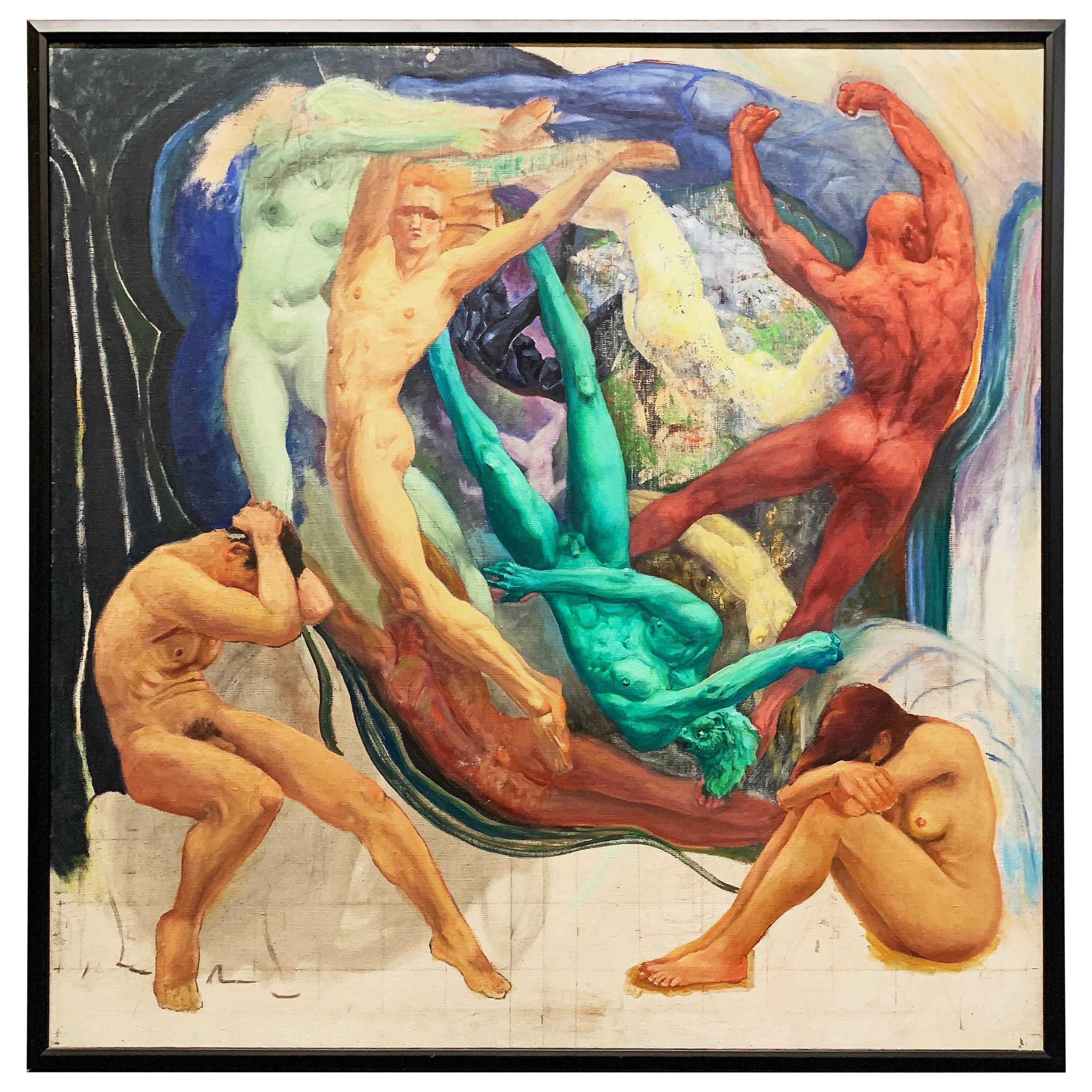 """Ten Nudes Dancing,"" Large Art Deco-Surrealist Painting by Bond, 1940s"