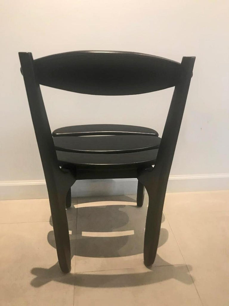 Mid-Century Modern Ten Oak Dining Room Chairs by Guillerme & Chambron For Sale