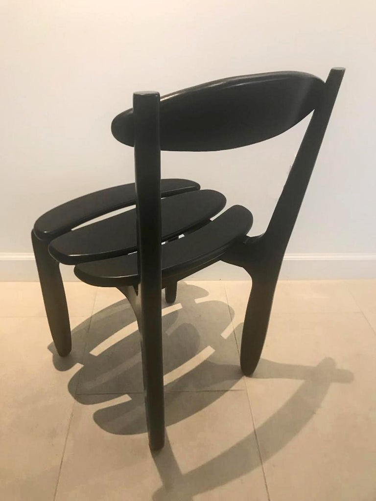French Ten Oak Dining Room Chairs by Guillerme & Chambron For Sale