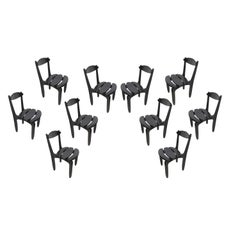 Ten Oak Dining Room Chairs by Guillerme & Chambron