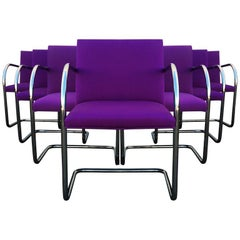 Ten Purple Mies Van Der Rohe Tubular Brno Chairs by Knoll