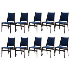 Ten Rosewood Danish Modern Dining Chairs, Blue Fabric, Labels on Several Chairs