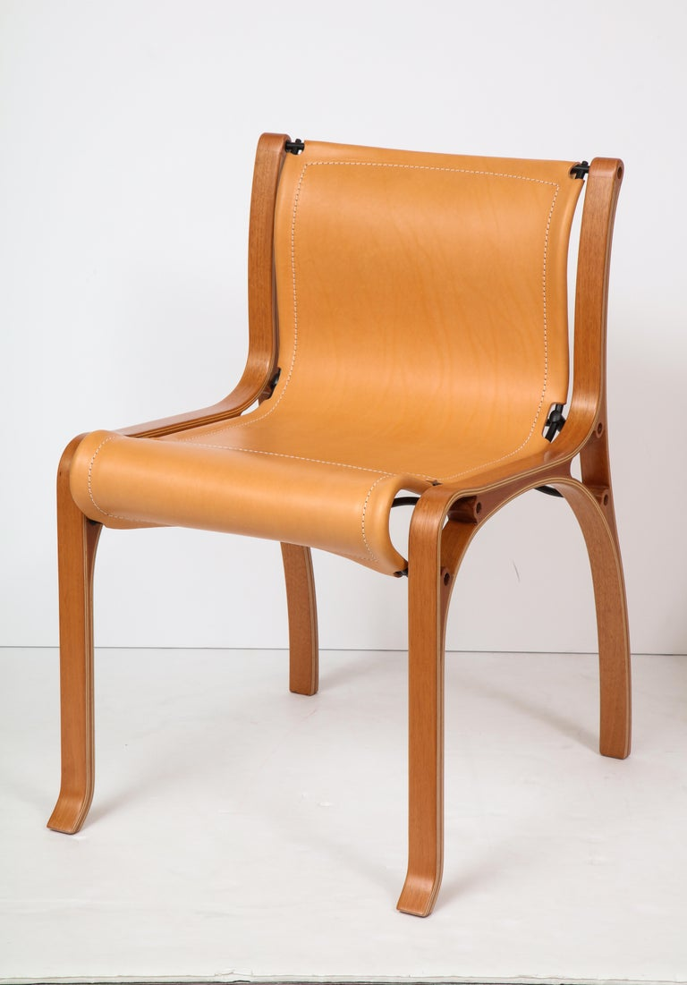 Ten Saddle Stitched Leather Dining Chairs For Sale at 1stdibs