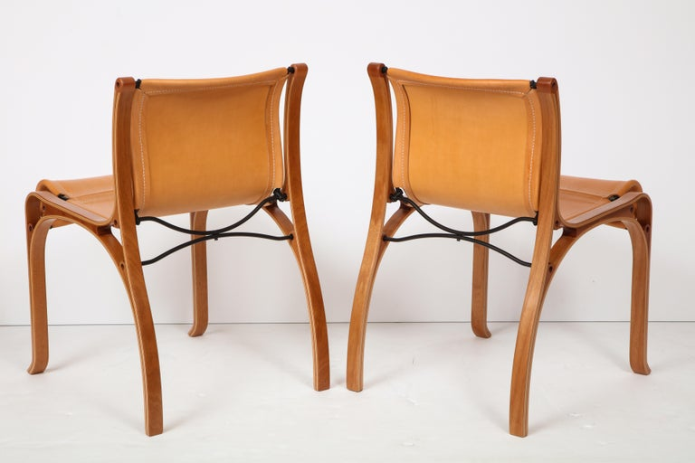 Laminated Ten Saddle Stitched Leather Dining Chairs For Sale