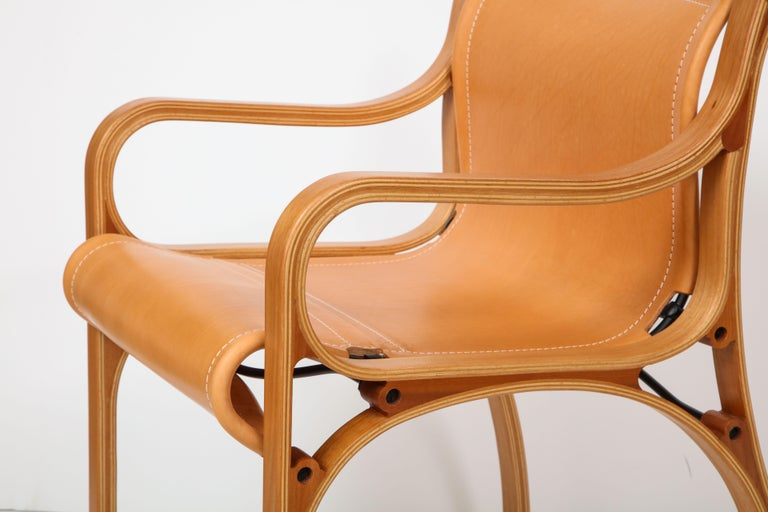 Contemporary Ten Saddle Stitched Leather Dining Chairs For Sale