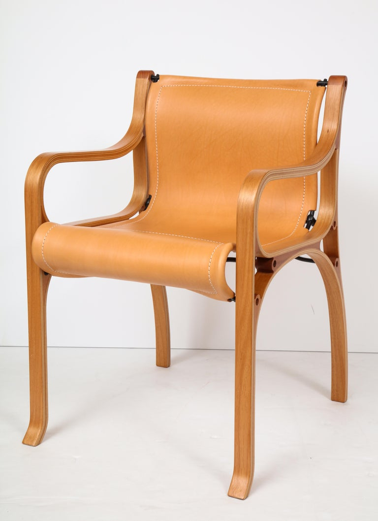 Steel Ten Saddle Stitched Leather Dining Chairs For Sale